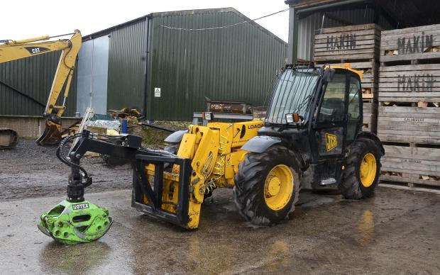 Forestry Journal: The Botex log handler is fitted to the yard's JCB.