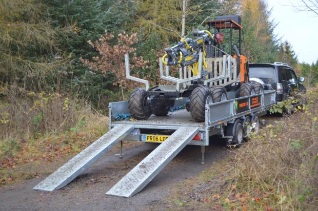 Forestry Journal: The Logbullet is a 1.5 m wide, 5 m long cross-country-eligible mini forwarder, light enough to be towed between sites by a truck and flatbed trailer.