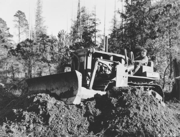 Forestry Journal: Most of the young men who shipped north to the Tongass National Forest with the Civilian Conservation Corps spent their service on infrastructure projects opening up the timberlands for tree harvesting. (Photo credit: USDA Forest Service.)