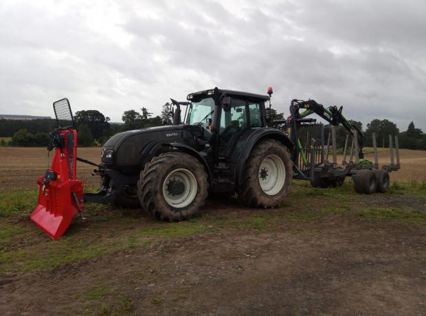Forestry Journal: Valtra T183 tractor with Botex Forester timber trailer, with Oehler 8.5-tonne winch on front.