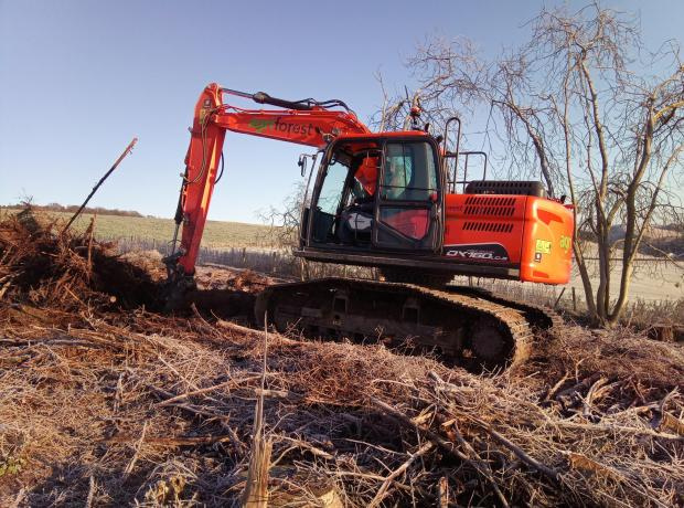 Forestry Journal: Doosan DX160 High Track Excavator working on a restock site in the Scottish Borders.