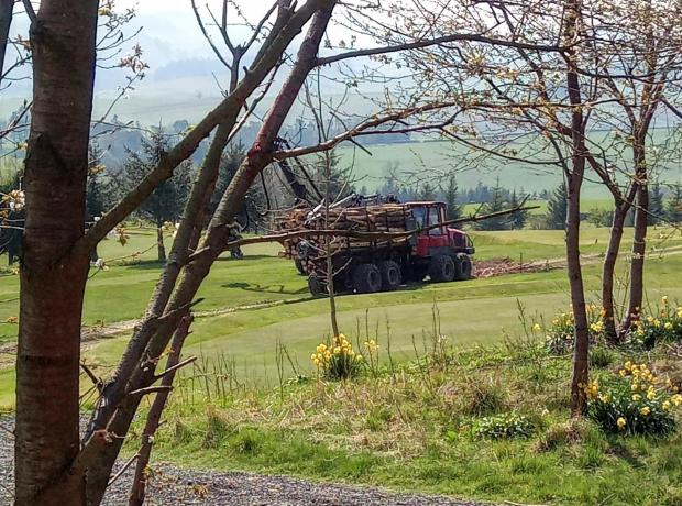 Forestry Journal: Forwarder crossing Hawick Golf Course, as part of Hawick Common Good work.