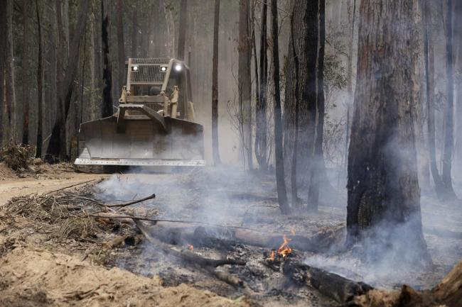 A bulldozer operated by the Forestry Corporation works at building a containment line at a fire near Bodalla, Australia.