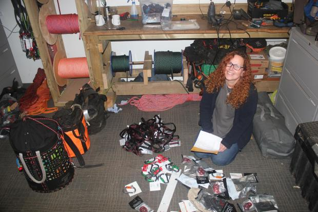 Forestry Journal: Sorting through one of Hi-Line's many climbing kit deliveries.
