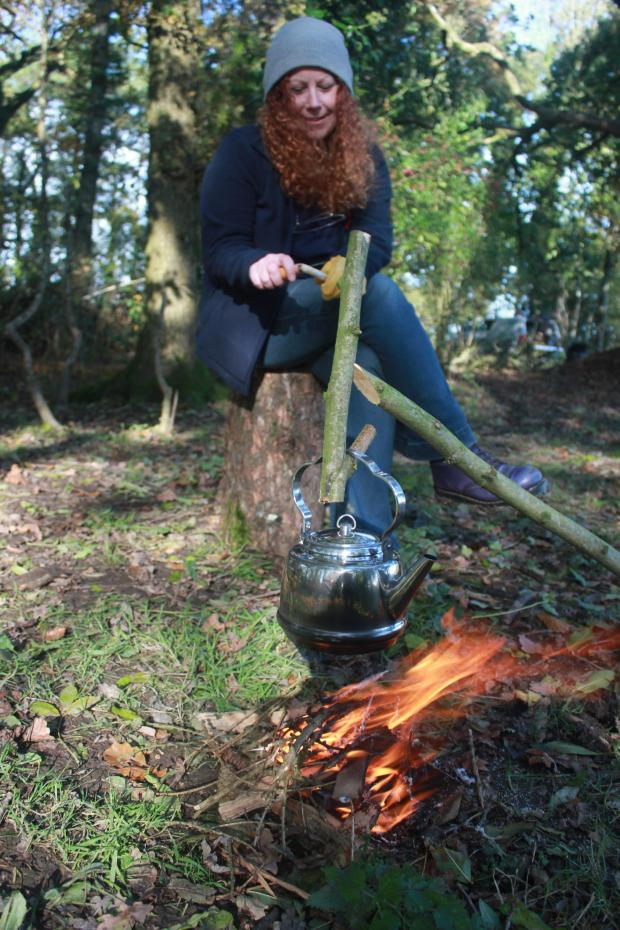 Forestry Journal: Kirsty demonstrates some spoon-whittling techniques.