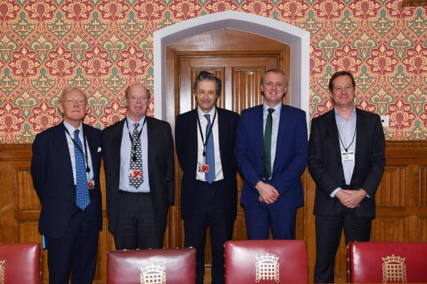 (Left to right): Lord Carrington, Lord Caithness, Lord Colgrain, Ben Lake MP and Stuart Goodall.