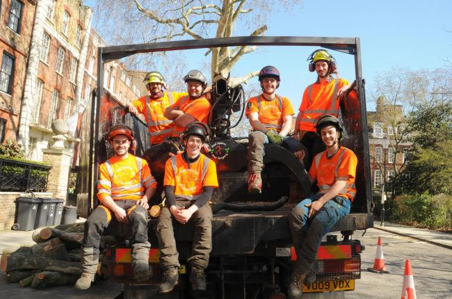 Red Squirrel Tree Surgery team members on site on day one. Coronavirus lockdown measures have yet to be announced.Back l – r: Tiago, Fletcher, James, Max. Front l – r: Kiko, Liam, George.
