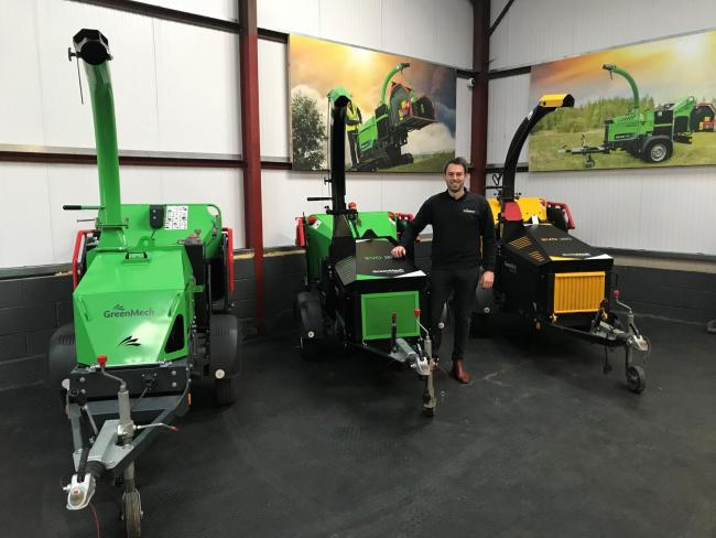 GA Groundcare  director Ashley Stevens with a selection of GreenMech machines.