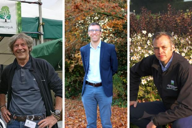 Forestry Journal: L–R: Keith Sacre, arboriculture and urban forestry director, Barcham Trees; Adam Dunnett, amenity sales director, Hillier Trees; Jonathan Whittemore, head of production and procurement, Johnsons of Whixley.