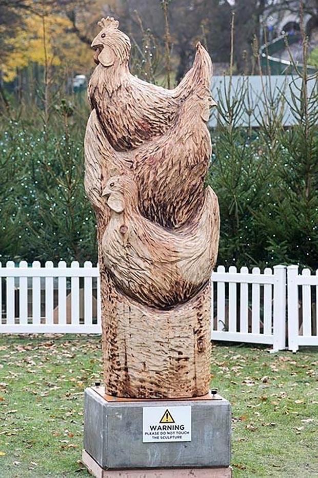 Forestry Journal: Garry's Three French Hens carving, which was part of the Aberdeen Christmas Sculpture Trail in 2018.