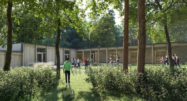 An artist's impression of how the planned forest learning centre in Balerno, on the outskirts of Edinburgh, will look.