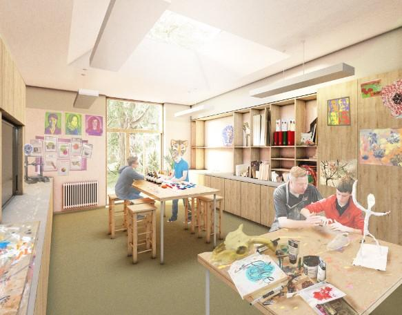 Forestry Journal: A graphic showing an art and design workshop at the planned hub.